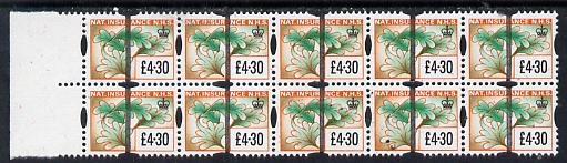 Cinderella - Great Britain National Insurance Stamp \A34.30 (showing oak leaf) superb block of 10 with Post Office Training bar overprint unmounted mint