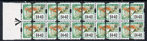 Cinderella - Great Britain National Insurance Stamp \A34.40 (showing oak leaf) superb block of 10 with Post Office Training bar overprint, unmounted mint
