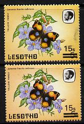 Lesotho 1986-88 Butterflies Yellow Pansy 15s on 5s two singles showing different shades in background colour, SG 727  unmounted mint*
