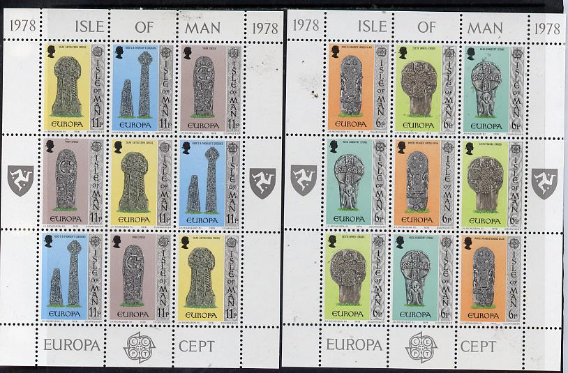 Isle of Man 1978 Europa (Sculpture) set of 2 sheetlets of 9 (each containing 3 se-tenant strips of 3) unmounted mint as SG 133-38