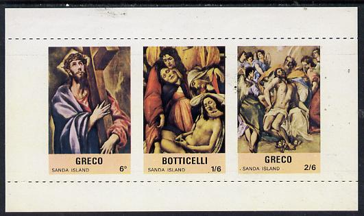 Sanda Island 1968 Easter, Religious Paintings m/sheet containing set of 3 with vertical roulettes omitted, unmounted mint