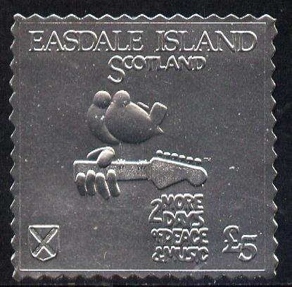 Easdale 1994 Woodstock 25th Anniversary \A35 design in silver foil (perf) unmounted mint