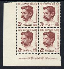 Australia 1949 Henry Lawson (poet) Commemoration imprint corner block of 4 unmounted mint, SG231