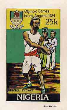 Nigeria 1984 Los Angeles Olympic Games - original hand-painted artwork for 25k value (Discus) by S O Nwasike, on card 5 x 8.5 without endorsements
