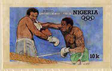 Nigeria 1984 Los Angeles Olympic Games - original hand-painted artwork for 10k value (Boxers) by Francis Nwaije Isibor, on card 8.5 x 5 without endorsements