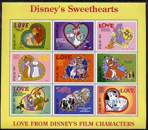 Palau 1996 Disney Sweethearts sheetlet containing set of 9 x 60c values unmounted mint, SG 1001-09