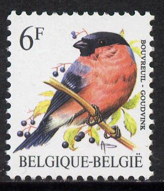 Belgium 1985-90 Birds #1 Bullfinch 6f unmounted mint, SG 2850