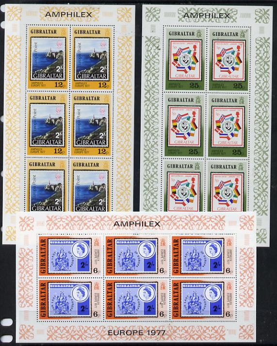 Gibraltar 1977 'Amphilex 77' Stamp Exhibition set of 3 sheetlets each containing 6 values, unmounted mint SG 390-92