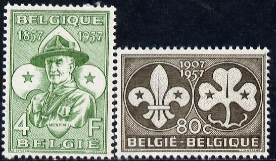 Belgium 1957 50th Anniversary of Scout Movement set of 2 unmounted mint, SG 1614-15