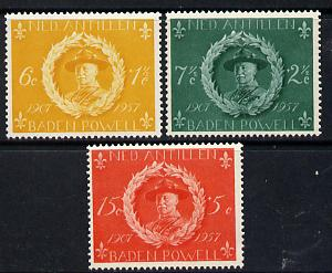 Netherlands Antilles 1957 50th Anniversary of Scout Movement set of 3 unmounted mint, SG 355-57