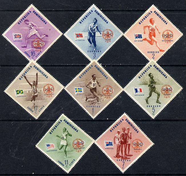 Dominican Republic 1957 50th Anniversary of Scout Movement opt on Olympic Games set of 8 (Diamond shaped) unmounted mint, SG 699-706