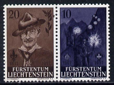 Liechtenstein 1957 50th Anniversary of Scout Movement se-tenant pair unmounted mint, SG 358a