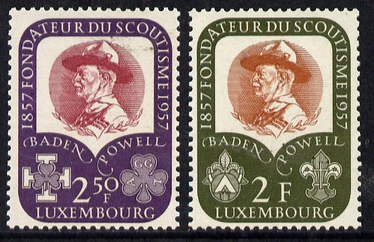 Luxembourg 1957  Birth Centenary of Lord Baden Powell set of 2 unmounted mint, SG 621-22*