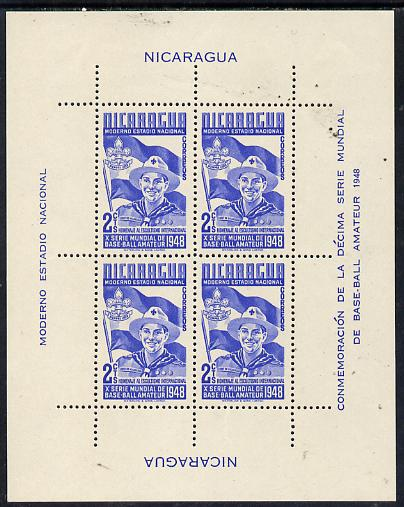 Nicaragua 1949 Scouts m/sheet (from Baseball set) comprising block of 4 of 2c blue unmounted mint