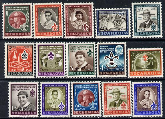 Nicaragua 1957 Birth Centenary of Lord Baden Powell set of 15 unmounted mint, SG 1263-77
