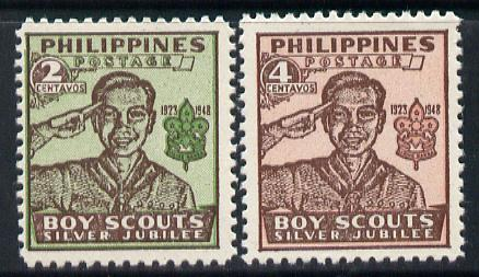 Philippines 1949 Scouts perf set of 2 unmounted mint SG 665-66*