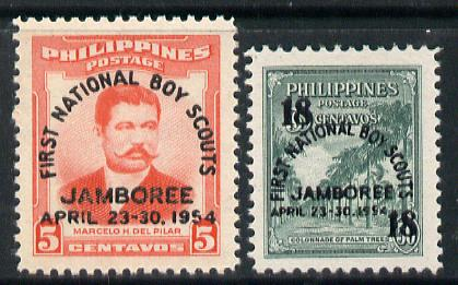 Philippines 1954 First National Scout Jamboree set of 2 unmounted mint, SG 758-59