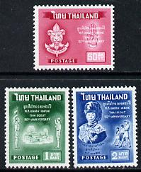 Thailand 1961 50th Anniversary of Thai Scout Movement set of 3 unmounted mint, SG 447-49*