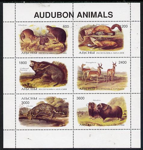 Abkhazia 1996 Audubon Animals perf sheetlet containing 6 values unmounted mint