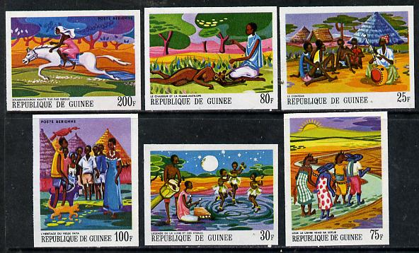 Guinea - Conakry 1968 Paintings of African Legends #1 imperf set of 6 from limited printing unmounted mint, as SG 644-49
