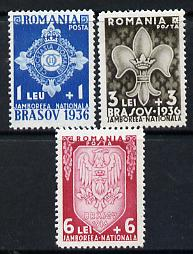 Rumania 1936 National Scout Jamboree set of 3 unmounted mint, SG 1337-39, Mi 516-18