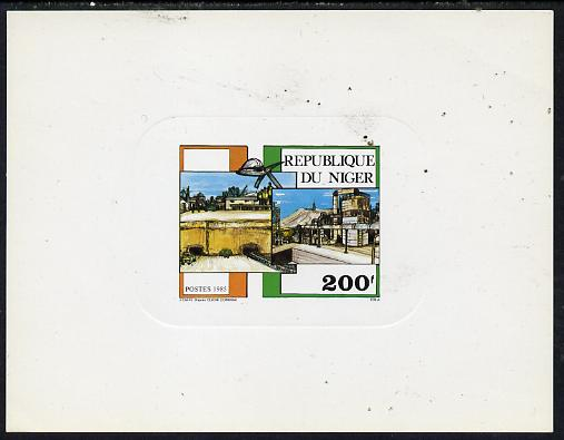 Niger Republic 1985 Philexafrique deluxe die proof of 200f (Mining) on sunken card, as SG 1035