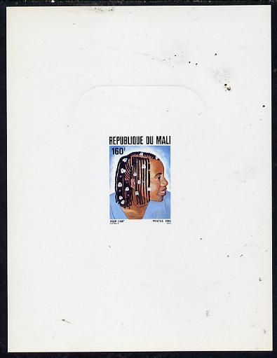 Mali 1982 Hairstyles deluxe die proof of 160f (with shell in braids) on sunken card, as SG 927