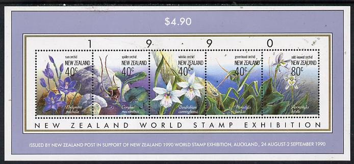 New Zealand 1990 'New Zealand 1990' Stamp Exhibition m/sheet (Native Orchids) unmounted mint, SG MS 1547