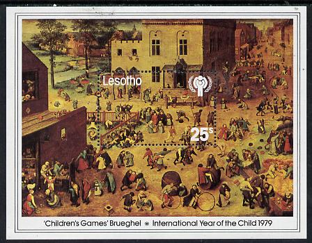 Lesotho 1979 International Year of the Child m/sheet (Children's Games by Brueghel) unmounted mint SG MS 382