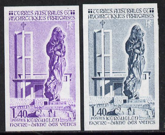 French Southern & Antarctic Territories 1983 Church of Our Lady of The Winds 1f40 (Statue of Virgin & Child) two different Imperf colour trial proofs unmounted mint, as S...