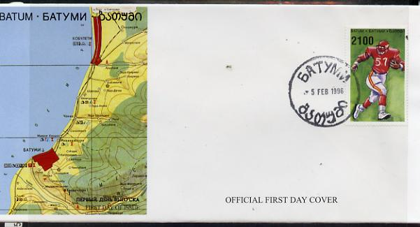 Batum 1996 Sports - American Football 2100 value on official cover with first day of issue cancel