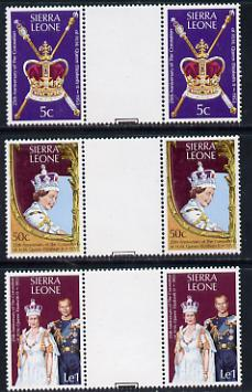 Sierra Leone 1978 Coronation 25th Anniversary set of 3 gutter pairs (SG 601-3) unmounted mint