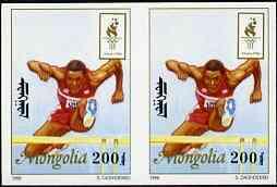 Mongolia 1996 Atlanta Olympics 200t (Hurdling) imperf pair unmounted mint