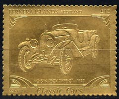 Bernera 1985 Classic Cars - 1923 Voisin Type C1 \A312 value perforated & embossed in 22 carat gold foil unmounted mint