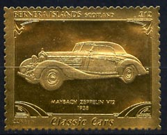 Bernera 1985 Classic Cars - 1938 Maybach Zeppelin V12 \A312 value perforated & embossed in 22 carat gold foil unmounted mint
