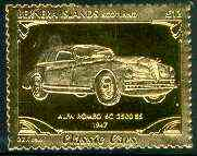 Bernera 1985 Classic Cars - 1947 Alfa Romeo \A312 value perforated & embossed in 22 carat gold foil unmounted mint