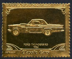 Bernera 1985 Classic Cars - 1954 Ford Thunderbird \A312 value perforated & embossed in 22 carat gold foil unmounted mint