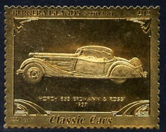 Bernera 1985 Classic Cars - 1937 Horch \A312 value perforated & embossed in 22 carat gold foil unmounted mint