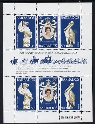 Barbados 1978 Coronation 25th Anniversary sheetlet (QEII & Pelican) SG 597a unmounted mint