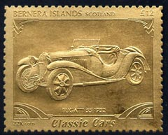 Bernera 1985 Classic Cars - 1932 Bugatti \A312 value perforated & embossed in 22 carat gold foil unmounted mint