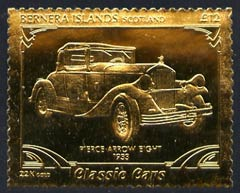 Bernera 1985 Classic Cars - 1933 Pierce Arrow \A312 value perforated & embossed in 22 carat gold foil unmounted mint