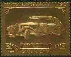 Bernera 1985 Classic Cars - 1934 Citroen \A312 value perforated & embossed in 22 carat gold foil unmounted mint