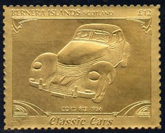 Bernera 1985 Classic Cars - 1936 Cord \A312 value perforated & embossed in 22 carat gold foil unmounted mint