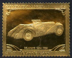 Bernera 1985 Classic Cars - 1938 Delahaye \A312 value perforated & embossed in 22 carat gold foil unmounted mint