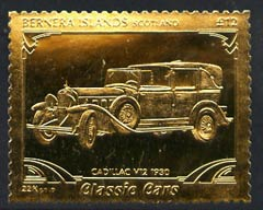 Bernera 1985 Classic Cars - 1930 Cadillac V12 \A312 value perforated & embossed in 22 carat gold foil unmounted mint