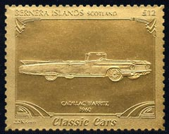 Bernera 1985 Classic Cars - 1960 Cadillac Biarritz \A312 value perforated & embossed in 22 carat gold foil unmounted mint