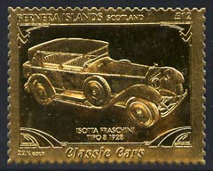 Bernera 1985 Classic Cars - 1928 Isotta Fraschini \A312 value perforated & embossed in 22 carat gold foil unmounted mint