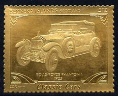 Bernera 1985 Classic Cars - 1925 Rolls Royce Phantom \A312 value perforated & embossed in 22 carat gold foil unmounted mint
