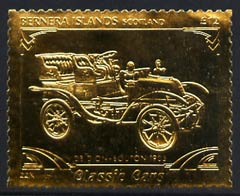 Bernera 1985 Classic Cars - 1903 De Dion Bouton \A312 value perforated & embossed in 22 carat gold foil unmounted mint