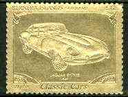 Bernera 1985 Classic Cars - 1961 Jaguar E-Type \A312 value perforated & embossed in 22 carat gold foil unmounted mint, stamps on cars    jaguar